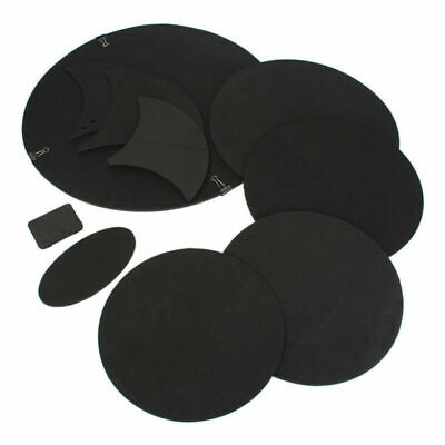 10 Pcs Bass Snare Drum Sound off Mute Silencer Drumming Rubber Practice Pads Set