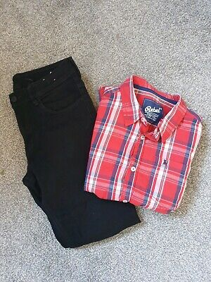 Boys Black Jeans And Checked Shirt Bundle Size 11-12years Primark