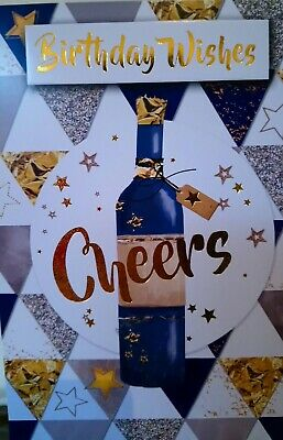 Happy Birthday Card Cheers Wine Bottle Blue Gold Male Men Friend Brother Dad Son