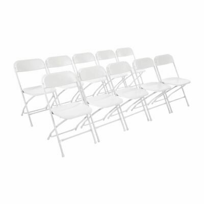 Bolero Folding Chair Steel in White Made of Polypropylene and Steel Pack of 10