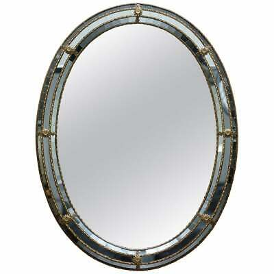 Stunning Venetian Oval Mirror With Mosaic Mirror Tiles & Tripled Edged Boarder