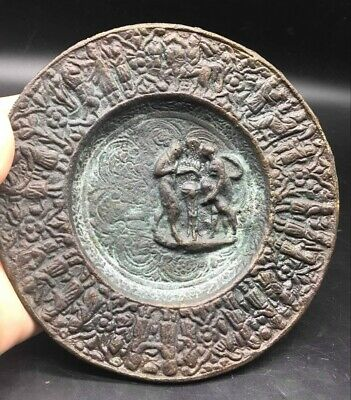 Very Antique Old Roman History Craved Round Pltae Whit Queen Head On Back