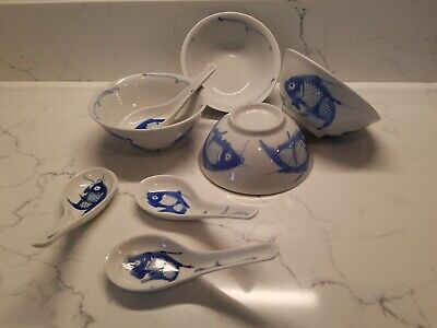 """Lot of 4 Chinese Porcelain Blue White Koi Fish Bowls 5"""" x 2 1/2"""" & 4 Soup Spoons"""