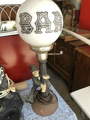 2 Vintage 1950s Guy around lamp Pole with booze bottle bar lamp