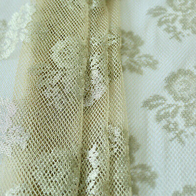 Lace Fabric - Delicate Rose Design - Gold - 2 Side Border