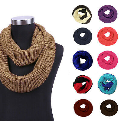 Unisex Women Men Soft Knitted Winter Warm Wrap Circle Loop Infinity Scarf