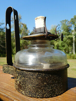 1890s ANTIQUE NEW ENGLAND TIN FRAME WALL MOUNT GLASS OIL LANTERN PLUME & ATWOOD