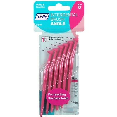 TePe Angled Interdental Brush Pack of 6 - Size 0.4mm Pink