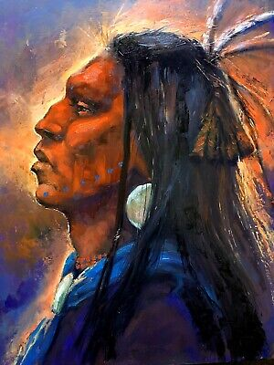 ORIGINAL OIL Painting Native American Medicine Man WESTERN Scottsdale Collector
