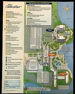 NEW 2020 Walt Disney World Contemporary Resort Map + 5 Theme Park Guide Maps