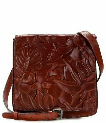 NWT $169 Patricia Nash Granada Floral Deboss Leather Crossbody Iron Red Brown