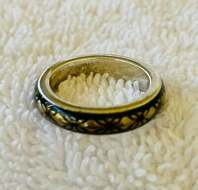 Authentic Pandora Sterling Silver Ring Gold Black Highlights 925 ALE sz 6.5