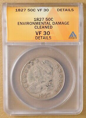 1827 Capped Bust Half Dollar ANACS VF 30 Details