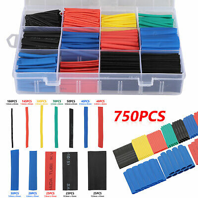 750Pcs Heat Shrink Tubing Insulated Shrinkable Tube 2:1 Wire Cable Sleeve Kit
