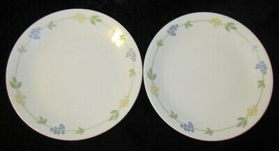"TWO - CORELLE ""Secret Garden"" 10-1/4"" DInner Plates - Blue Yellow Flowers NICE!"