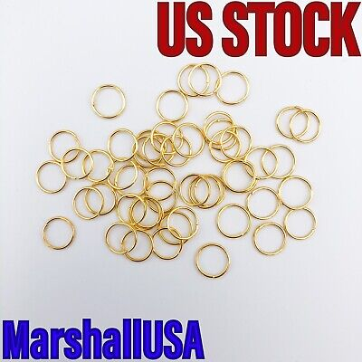 8mm 50pcs Lt Gold Plated Jump Rings Jewelry Findings Open Split Earring Necklace