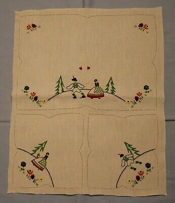 Vintage Unfinished Embroidered Duchess Doily Set: Couple In Costume, Flowers