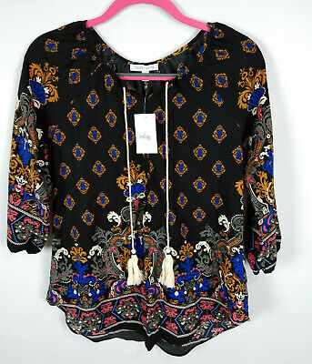 Moa Moa Womens Shirt Top Blouse Tassels Multi Color Size S Small NWT