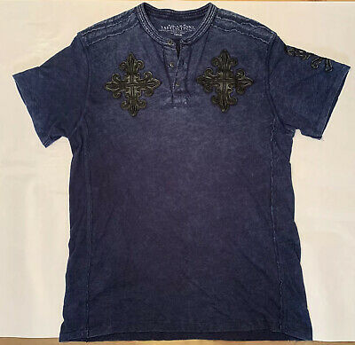 Affliction Live Fast Mens T Shirt Blue Distressed w/ Black Leather Patches Sz M