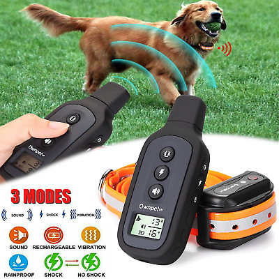 Pet Dog Shock Training Collar Remote Waterproof IPX7 Rechargeable for S/M/L Dogs