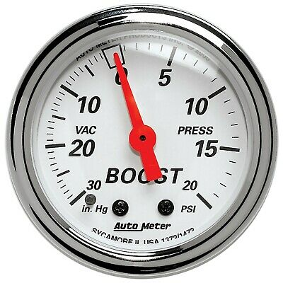 1372 Autometer 1372 Arctic White Mechanical Boost/Vacuum Gauge