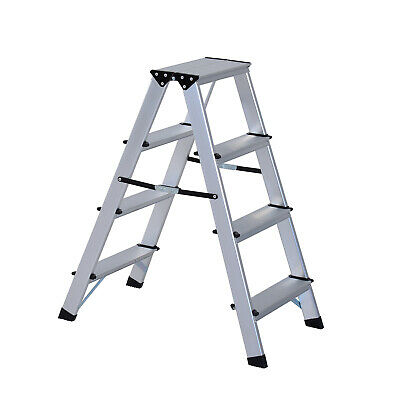 Multi Functional 4 Step Foldable Aluminum Ladder Folding Sturdy Platform Silver