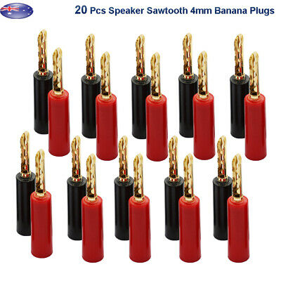 20x Sawtooth 4mm Banana Plugs Gold Plated Speaker Cable Connector Jack AU