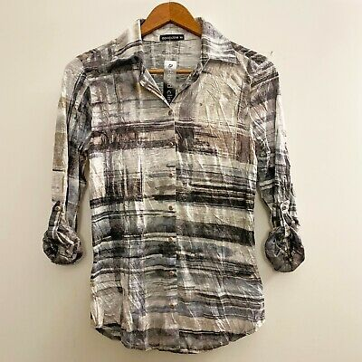David Cline Purple//Grey Crushed 3//4 Sleeve Button-Down Floral Blouse Shirt DC001