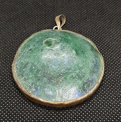 Ancient 2000 years Old Roman Glass Beautiful Patina Wonderful Silver Pendant