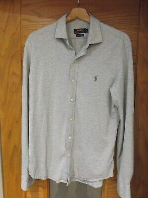 "Quality Mens RALPH LAUREN POLO Grey ""Slim Fit"" Jersey Knit Dress Shirt. Large."