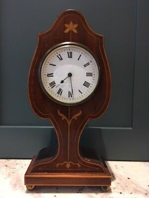 Pretty French Antique Mantle Clock Inlaid Wood