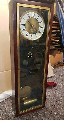 Mahogany and Brass Cased Wall Clock