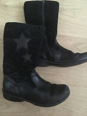 Girls Clarks Black Leather Boots Size 13 G With Stars