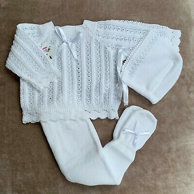Baby Boy Girl Spanish Knitted White Outfit Set