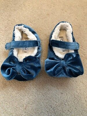 Next Girl Blue Bow Slippers Size 5