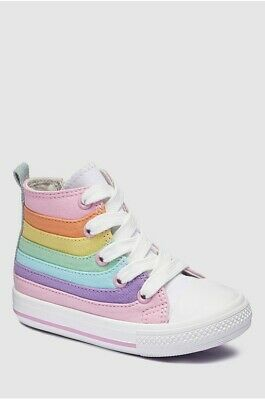 Next Girls Pastel Rainbow High Top Trainers Size 11 (29)