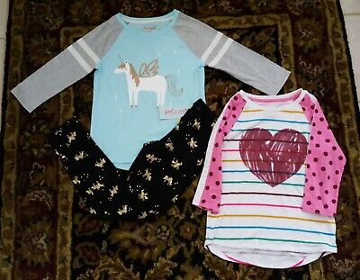 Girls Sz 7/8 Cat & Jack Unicorn Black w/ Gold Unicorn Print Pants Leggings Tops