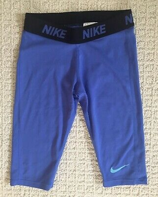 Girl's Nike Pro Blue DRI-FIT Capri Cropped athletic Compression Leggings Small