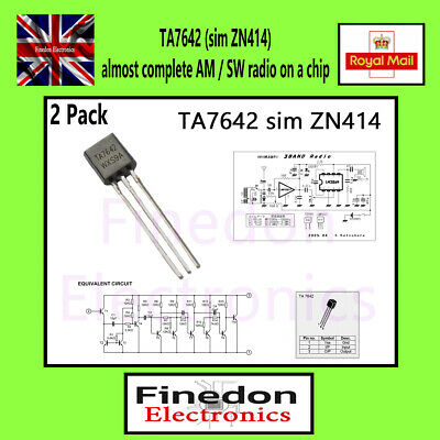 2 Qty TA7642 (sim ZN414) almost complete radio on a chip UK Seller