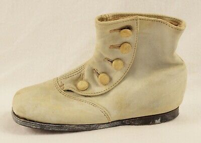 Antique Victorian Baby Child's White Button Up Boot - Single