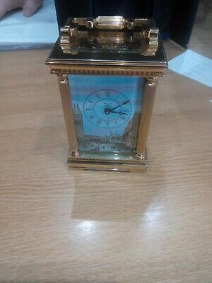 Halcyon Days 8 Day Carriage Clock English Movemnent London Theme Dial With Key