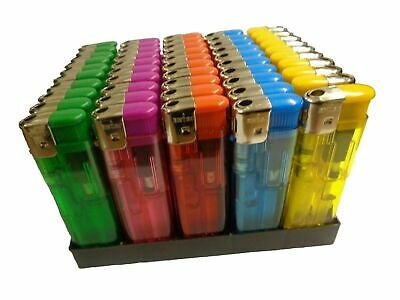 50 Electronic Lighters Refillable Gas Child Safety Adjustable Flame In 5 Colours