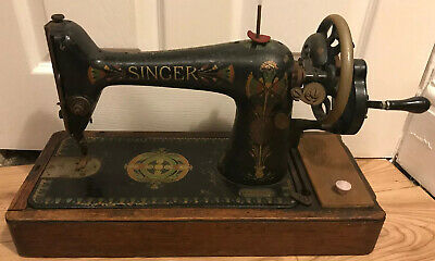 Lovely Vintage Hand Cranked Singer Sewing Machine on Wooden Base, Display Piece