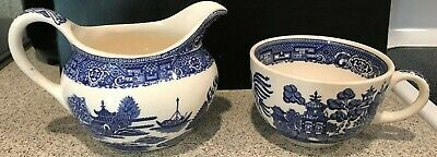 QING DYNASTY  Blue & White  Blue Willow (Canton)? CREAMER w/cup