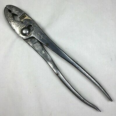 "Vintage Diamond Edge Slip Joint Pliers with Screwdriver Handle 9-3/4"" Long Tool"