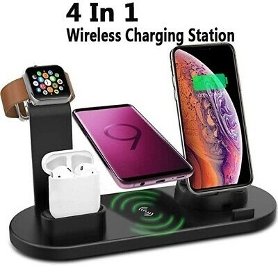 4 in 1 DOCKING STAND STATION WIRELESS Qi -  Ricarica Iphone/Apple Watch/Airpods