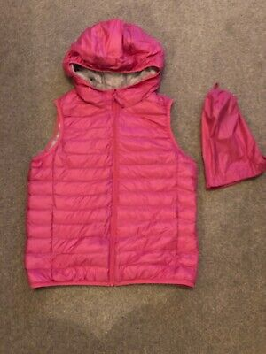 Girls Pink Uniqlo Ultra Light Down Gilet With Pouch, Age 9-10 Years, Worm Twice