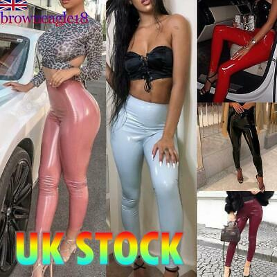 Womens Ladies Leather High Waist PU Leggings Wet Look Stretch Trousers Pants UK