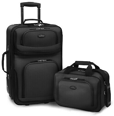 Carry-on Rio Black Rolling Lightweight Expandable Suitcase Tote Bag Luggage Set