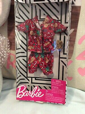 2019 Barbie Doll Christmas Outfit Holiday Clothes Gingerbread Pajamas /& Puppy